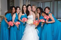 Bridesmaids in Henkaa's Sakura Maxi Convertible Dress in Turquoise Teal - The perfect dress for matched but mismatched maids