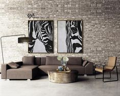 Set of 2 Animal Painting Large Canvas Wall Art Set of 2 image 2 Zebra Painting, Black And White Painting, Black White, Large Canvas Wall Art, Minimalist Painting, Mid Century Modern Art, Wooden Bar, Wall Art Sets, Animal Paintings
