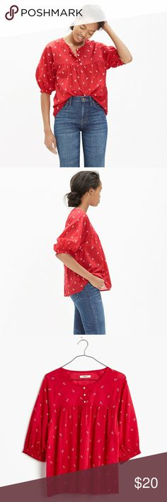 Madewell red shirred peasant top In great condition. Only minor flaw, the Madewell brand tag has detached on 1 side & has left 2 minor small holes. Not too noticeable when worn.   PRODUCT DETAILS  A red shirred peasant blouse in a delicate vintage-inspired floral print. With its easy fit and elbow-length sleeves, it's ideal for in-between weather.   True to size. Cotton lawn. Machine wash. C2 102917 Madewell Tops