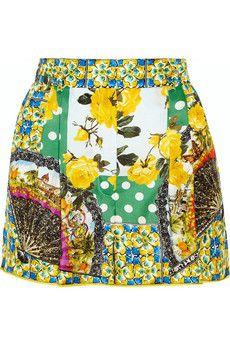 Dolce & Gabbana Printed silk-satin shorts | NET-A-PORTER