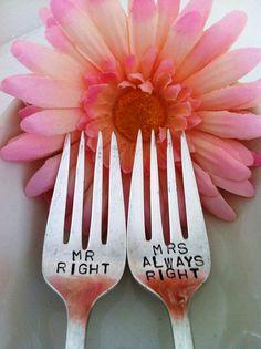 Hand Stamped Mr Right Mrs Always Right Wedding by VinylPhraseCraze, $18.95