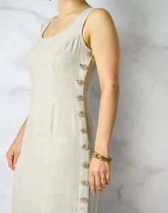 Natural Linen / Tencel / Rayon Blend Sheath Dress with image 7 Neck Designs For Suits, Dress Neck Designs, Blouse Designs, Simple Kurta Designs, Kurta Designs Women, Simple Dresses, Casual Dresses, Fashion Dresses, Indian Designer Outfits