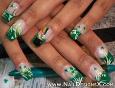 assorted luck of the irish nail art - Nail Designs and Nail Art