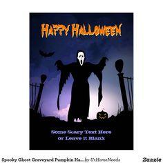 Spooky Ghost Graveyard Pumpkin Halloween Party