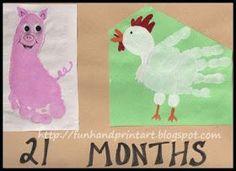 Footprint Pig  Handprint Chicken ~ farm animal craft for kids