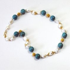 14k Gold Pearl & Turquoise Necklace