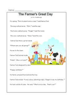 This printable story and reading comprehension worksheet is about animals on a farm – a setting that most children enjoy. Contains two worksheets with comprehension questions. What other farm animals does your child know?   Read more at http://kidspressmagazine.com/reading-comprehension-grade-1/worksheets/misc/the-farmers-great-day.html#D0rHszEBx8TiYDRa.99  #comprehension, #grade1, #printable, #reading