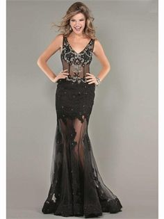 Black Mermaid V-Neck Beading Lace Tulle 2013 Prom Dresses