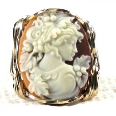 Grecian Goddess Cameo Ring 14K Rolled Gold Jewelry