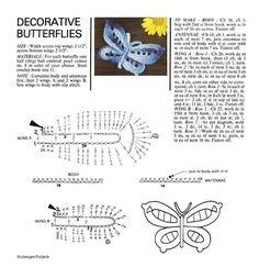 """Photo from album """"Бабочки крючком"""" on Yandex. Crochet Butterfly Free Pattern, Crochet Birds, Crochet Motif, Crochet Animals, Crochet Flowers, Crochet Stitches, Crochet Baby, Crochet Patterns, Crochet Appliques"""