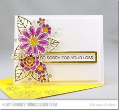 Mft Doodled Blooms.  Sweet Tooth card stock base and added another layer of Sweet Tooth card stock, popped up on foam mounting tape, on which to do my design. Before I popped it up, however, I stamped the sentiment, from More Essential Sentiments, with Versamark and heat embossed with gold detail embossing powder. Then I cut Brushed Gold card stock with Rectangle Word Window Frames Die-namics