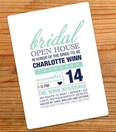 Bridal Open House Invitation by adbdancer on Etsy, $10.75; Jess, this is my fave for an open house; do you have another color with the navy?