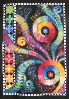 Circles and Swirls. Love the bright colors. 3d Quilts, Header Photo, Cat Quilt, Silky Touch, Custom Quilts, Kona Cotton, Fire And Ice, Blanket Sizes, Dust Mites