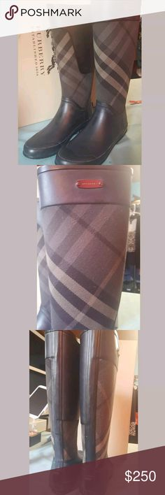 Burberry Clemence Rain Boots size 38/8 with box Are you going horseback riding across the pond or do you just want to look like it? Either way you're totally in style! Pip pip cheerio These boots are in excellent condition and come with the box. Don't pay full price! These retail for $450  Please look at the pictures and ask all the questions before you purchase These Boots as I do not take returns Burberry Shoes Winter & Rain Boots
