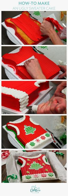 Learn how to make an Ugly Sweater Vest Cake.
