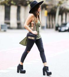 aida domenech look street style chapéu bota calça