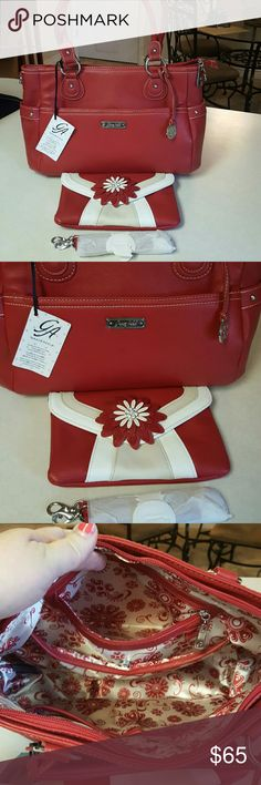 NWT Grace Adele Matching Pair Of Purses Delicious large red purse has tons of room and pockets.  15x10x4.  Change purse has removable shoulder strap. 6x9. Grace Adele Bags Shoulder Bags