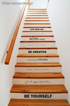 Enjoyable Wooden Steps. Stair text stairs quote  6 ways to update a staircase DIY Home Decor