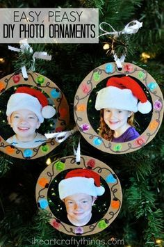 Make these DIY Christmas Photo Ornaments at home to give to grandparents or in the classroom for a present for Mom or Dad. Fun diy Christmas gift, Christmas gift kids can make and Christmas craft for kids. gift for mom Easy DIY Christmas Photo Ornaments Diy Photo Ornaments, Photo Christmas Ornaments, Christmas Gifts For Mom, Christmas Christmas, Kids Ornament, Easy Ornaments, Christmas Ideas, Christmas Crafts With Kids, Kids Christmas Activities