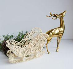 Vintage Crocheted Sleigh Large Santa's Sleigh by JudysJunktion, $20.00