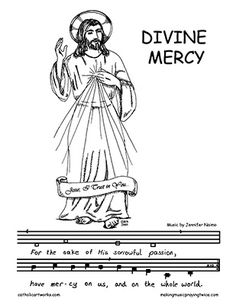 Divine Mercy Coloring Picture with Divine Mercy Verse