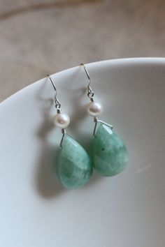 Green Large Amazonite Jade Earrings, Freshwater Pearls, Argentium Sterling Silver, Wire Wrapped, June Birthstone, Pear Briolette, by Princess Ting Ting Jewelry @ Etsy
