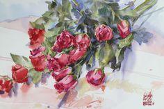 Watana Kreetong  Roses 2016 38x56cm