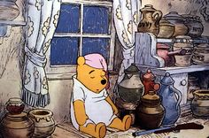 """Awe, all tired out from a day of messing with those old bees for some yummy in your tummy """"hunny"""", huh Pooh? A scene from The Many Adventures of Winnie the Pooh. Winnie The Pooh Cartoon, Winne The Pooh, Cute Winnie The Pooh, Winnie The Pooh Quotes, Winnie The Pooh Friends, Bear Wallpaper, Disney Wallpaper, Pooh Bear, Tigger"""