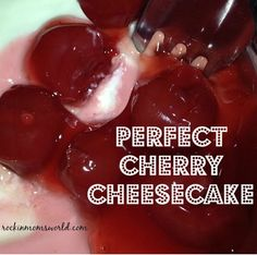 2 Cups Graham cracker crumbs 3 Tbsp Sugar 1/4 tsp Salt 5 Tbsp of Butter 4 packages of Philidelphia Cream Cheese 4 Eggs 1 cup granulated Sugar 1/2 tsp salt 1 1/4 tsp Vanilla Preferably Fresh Cherrie...
