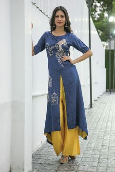 Elegant Navy Blue Kurta With Cage Work With Satin Plazzo Pakistani Dresses, Indian Dresses, Indian Outfits, Salwar Designs, Blouse Designs, Stylish Dresses, Fashion Dresses, Kurta Style, Buy Dresses Online