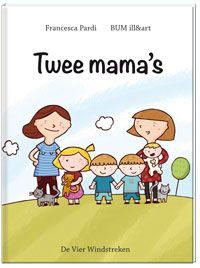 Francesca Pardi - Twee mama's | De Vier Windstreken 2013, 32 pagina's | Twee mama's laat zien dat je geen papa nodig hebt om een gezin te kunnen zijn. Roos en Femke gaan gewoon naar het ziekenhuis om zwanger te worden. En met hun kinderen doen ze dezelfde dingen als andere gezinnen: ze ontbijten samen, ze gaan naar school en naar opa en oma. | http://www.vierwindstreken.com/product.php?productid=16741=0=1