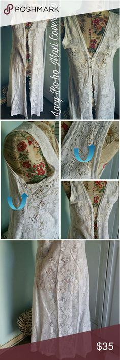 Vintage PANDORA Casuals Lacy Bo-ho Maxi Cover-up S Vintage White lacy button down maxi cover-up size S. By PANDORA CASUALS. In lovingly worn but good condition. Has minor flaws. Tiny seperating of lace under right arm as pictured and marked and a tiny spot marked as well on 2nd photo. Very minor but worth mentioning. Flat lay measurements : 46' length / 18' width. Please let me know if you have any questions. 30% discount when using the bundle feature. Reasonable offers may be considered. No…
