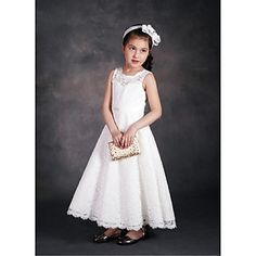 A-line+Ankle-length+Flower+Girl+Dress-Lace+/+Satin+/+Tulle+Sleeveless+–+USD+$+59.99