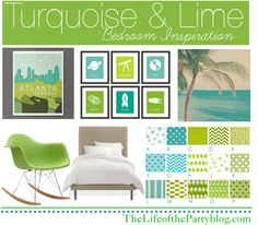 For the back room/office - turquoise and lime?!