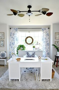 Home Office Decor - This room went from dining room to office. So pretty!