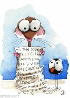 ACEO Original Watercolor Folk Art Mouse The Love Letter for Crow Happy Valentine | eBay
