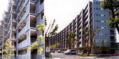 岐阜県営住宅ハイタウン北方-南ブロック(高橋昌子、クリスティン・ホーリィ、エリザベス・ディラー、妹島和世) 岐阜県営住宅ハイタウン北方-南ブロック(北方町)は、昭和40年代に建設された公営住宅の建替えに当たって、21世紀に向けた居住様式を提案することを目標として設計された集合住宅団地である。