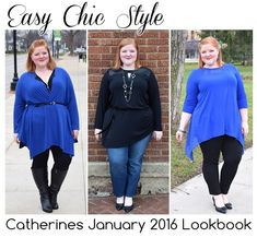 I share three head-to-toe looks from Catherines (sizes 0-5X) featuring their new January 2016 arrivals. These are easy, effortless pieces with some edge. #psblogger #fashionblogger #plussize #plussizefashion #catherines #catherinesplus