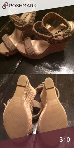 Women wrap around ankle buckles Super cute wedges with wrap around the ankle buckles Soda Shoes Wedges