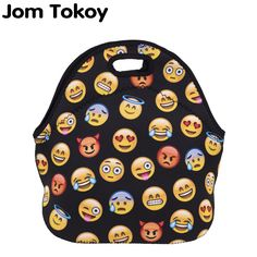 Jom Tokoy emoji black Thermal Insulated 3d print Lunch Bags for Women Kids Thermal Bag Lunch Box Food Picnic Bags Tote Handbags