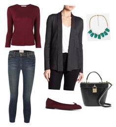 """Burgundy"" by dborotea on Polyvore featuring T By Alexander Wang, Cable & Gauge, BKE, Current/Elliott, Repetto and Dolce&Gabbana"