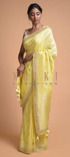 Daffodil Yellow Banarasi Saree In Georgette With Weaved Diagonal Stripes All Over Online - Kalki Fashion Lehenga Style Saree, Banarsi Saree, Saree Dress, Georgette Sarees, Anarkali, Indian Attire, Indian Outfits, Indian Wear, Saree Floral