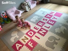 A beautiful personalized girl's playroom play mat using Light Gray and White SoftTiles Safari Animals with alphabet letters in Pink and White. We sell each letter individually so it's easy to add the name of your child to a playmat! Childrens Play Mat, Playroom Flooring, Starting A Daycare, Home Design Diy, Toddler Learning, Safari Animals, Kids Playing, Play Mats, Alphabet Letters