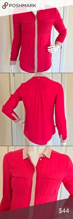 Anthropologie Neon Pink Button Down Blouse 2 XS It's in excellent condition. Hidden buttons down the front of the top and buttons at the hems of the sleeves. Feels very silly and smooth, free flowing. It's made of rayon. Anthropologie Tops Blouses