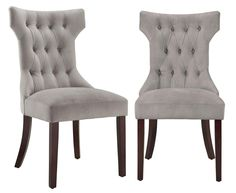Amazon.com: Dorel Living Clairborne Tufted Upholestered Dining Chair, Gray, Set of 2: Furniture & Decor