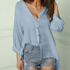 Solid Button Through Knot Side Loose Blouse Women's Online Shopping Offering Huge Discounts on Dresses, Lingerie , Jumpsuits , Swimwear, Tops and More. Latest Fashion Clothes, Fashion Outfits, Fashion Online, Style Fashion, Fashion Trends, Blouse Models, Event Dresses, Blouse Dress, Blouse Styles