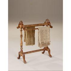 Butler Hand-carved Vintage Oak Finished Blanket/ Quilt Stand