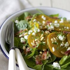 Sweet golden beets add color and flavor to this fall inspired salad. Bacon and feta crumbles will have you wanting to eat your vegetables!