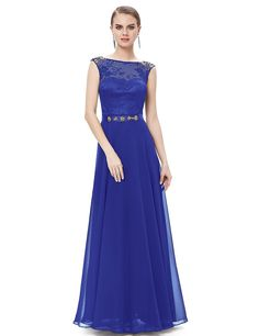Ever Pretty Womens Sleeveless Round Neck Lace Casual Party Prom Dress 6UK Sapphire Blue