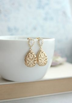 Gold Puffy Filigree Cubic Zirconia Ear Post Earrings. Wedding